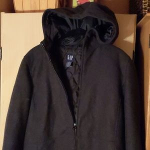 Gap zipper hooded wool jacket